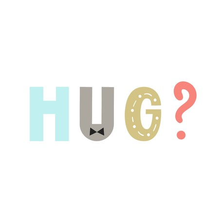 Hug - Cute and fun hand drawn nursery poster with lettering in scandinavian style. Stock Photo