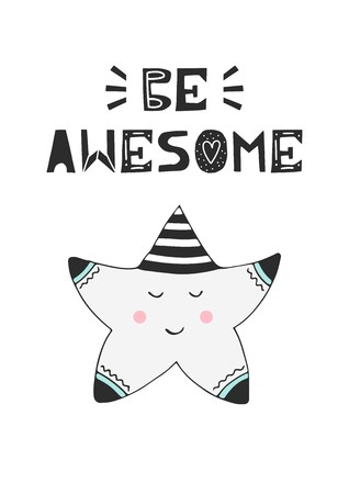 Be awesome - hand drawn nursery birthday poster with little sleeping star and cut out lettering in Scandinavian style. Monochrome kids vector illustration.