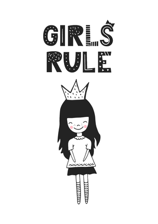 Girls rule - unique hand drawn nursery poster with handdrawn lettering in scandinavian style. Vector illustration. 일러스트