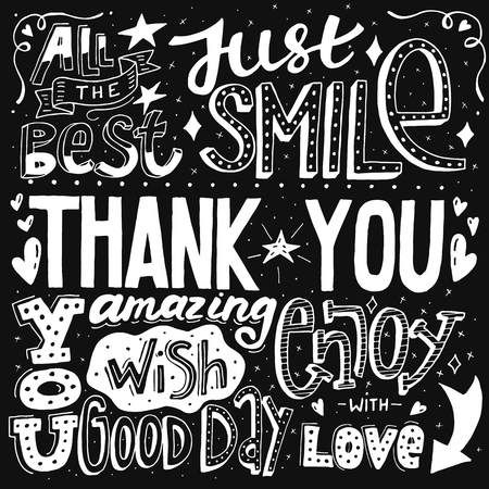 Unique thank you with hand drawn lettering and calligraphy with many phrases and words. Black and white vector illustration. Illustration