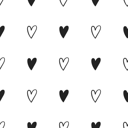 Seamless pattern with hand drawn hearts. Vector illustration in Scandinavian style. Illustration