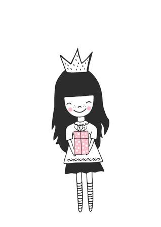 Hand drawn nursery birthday poster with birthday girl in scandinavian style. Monochrome kids vector illustration.