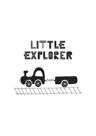 Little explorer - Cute hand drawn nursery poster with lettering and car in scandinavian style. Vector illustration.