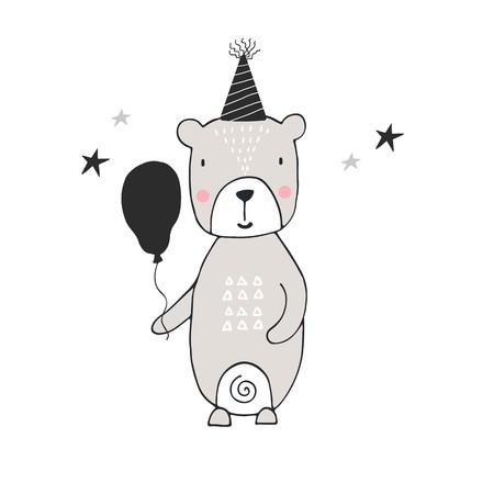 Hand drawn nursery birthday poster with bear in scandinavian style.