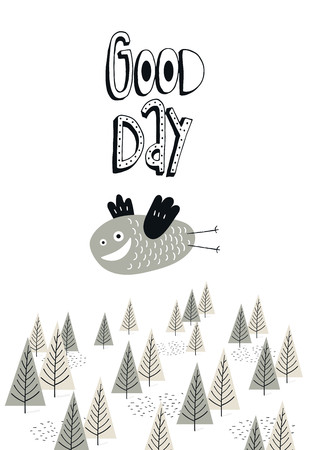 Good day - nursery poster with cute bird and lettering. Color kids vector illustration in scandinavian style.