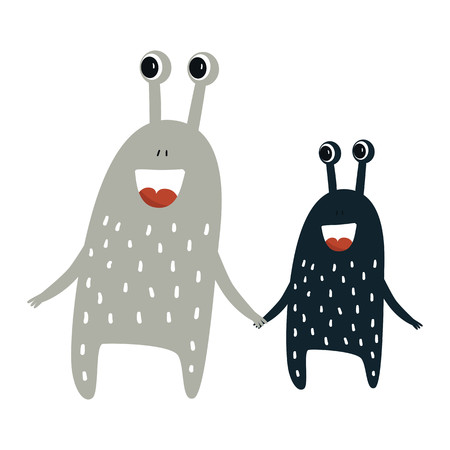 Funny nursery poster with cute monsters. Color kids vector illustration in scandinavian style.