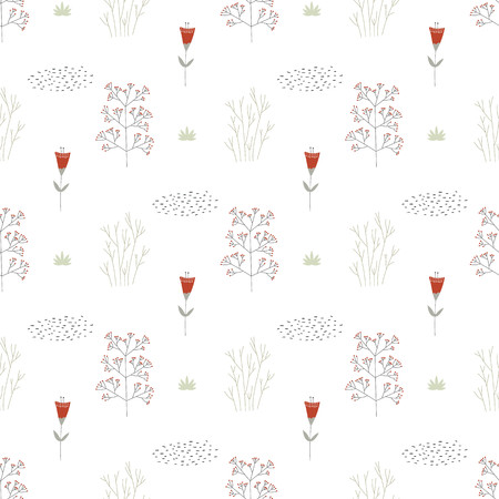 Unique hand drawn seamless pattern with floral elements. Vector illustration in monochrome scandinavian style.