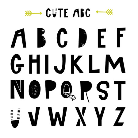 ABC - Latin alphabet. Unique nursery poster with letters in scandinavian style. Vector illustration. Çizim