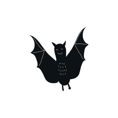 Cute hand drawn nursery poster with black bat animal. Vector illustration in scandinavian style. Standard-Bild - 114992381
