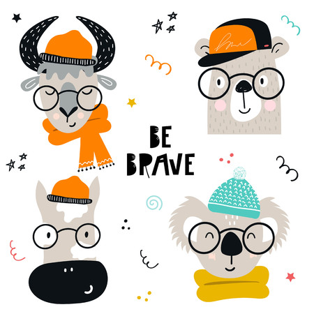 Collection of cute kids cartoon animals with clothes and accessories. Set of wild characters in scandinavian style. Vector illustration.