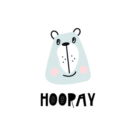 Hooray - Cute hand drawn nursery poster with cartoon bear animal character and lettering in scandinavian style. Kids vector illustration.