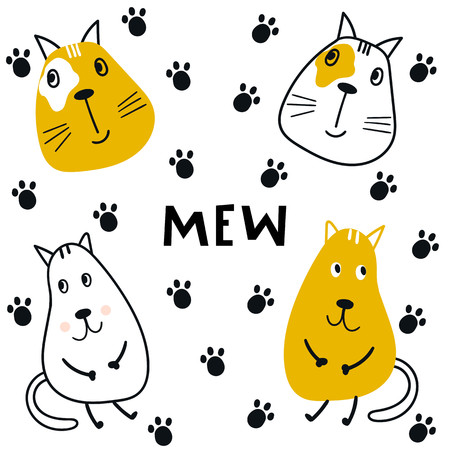 Collection of cute kids cartoon animal cats with trail and lettering. Set of wild characters in scandinavian style. Illustration
