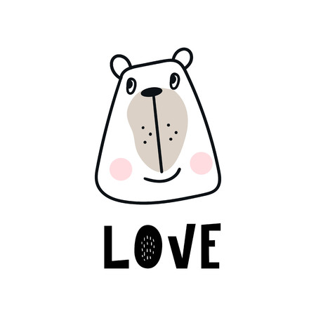 Love - Cute hand drawn nursery poster with cartoon bear animal character and lettering in scandinavian style. Kids vector illustration.