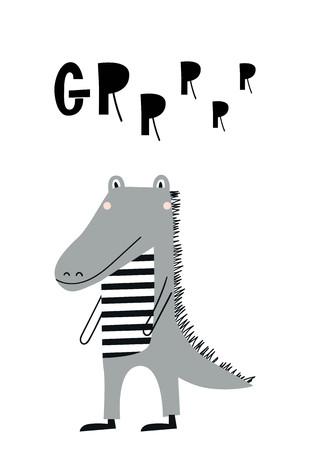 Cute hand drawn nursery poster with alligator animal. Kids vector illustration in scandinavian style.