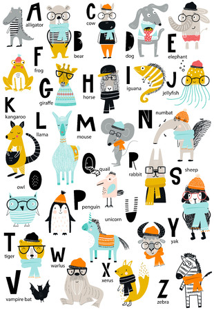 Cute vector zoo alphabet poster with cartoon animals. Set of kids abc elements in scandinavian style. Stock Illustratie