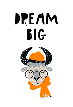 Dream big - Cute hand drawn nursery poster with cartoon bull character in hat and glasses and hand drawn lettering. Vector illustration in scandinavian style. 向量圖像
