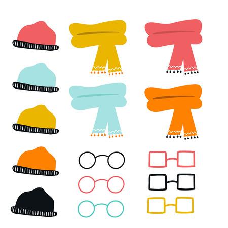 Ensemble de lunettes, chapeaux et foulards dessinés à la main de couleur mignonne. Collection de vêtements de dessin animé. Illustration vectorielle. Vecteurs