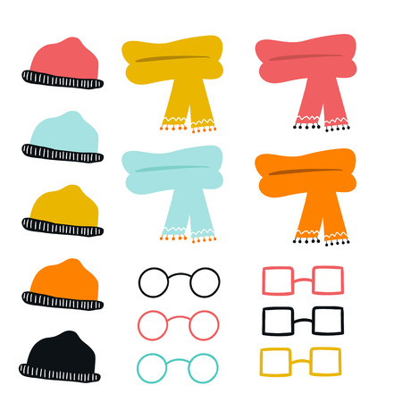 Set of cute color hand drawn glasses, hats and scarves. Collection of cartoon clothes. Vector illustration. Illustration
