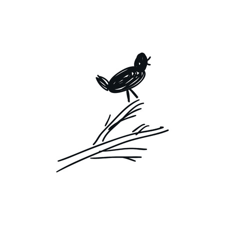 Baby illustration of a cute cartoon hand drawn bird on a branch. Kids vector illustration.