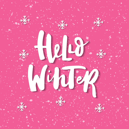 Hello winter - Christmas and New Year phrase. Handwritten modern lettering for cards, posters, t-shirts, etc. Vector illustration.