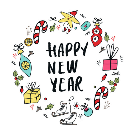 Happy New Year banner template. Circular ornament with christmas decorations and hand drawn lettering. Vector illustration. Illustration