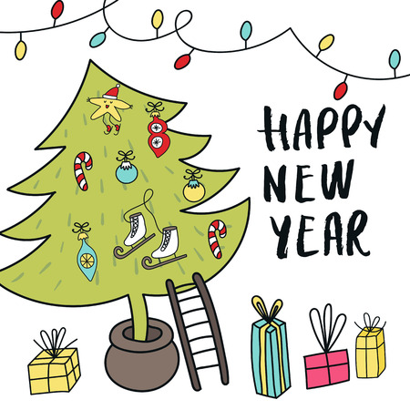 Christmas tree with decorations, gift boxes and hand drawn lettering. Cute New Year vector illustration.
