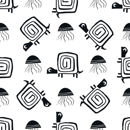 Monochrome seamless pattern with jellyfish and turtle. Cute kids paper cut vector illustration.