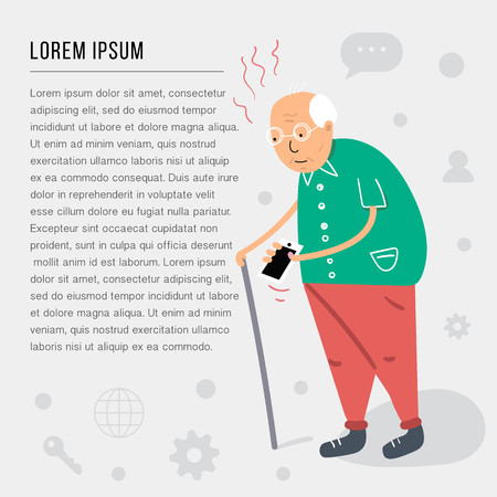 An old man with a cane holding a phone in his hands and trying to take a call. Flat style vector illustration isolated on white background.