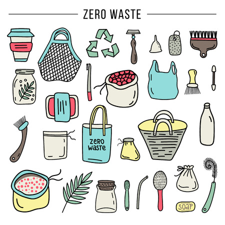 Zero Waste concept - Set of hand drawn organic elements. No plastic. Vector illustration. Illustration