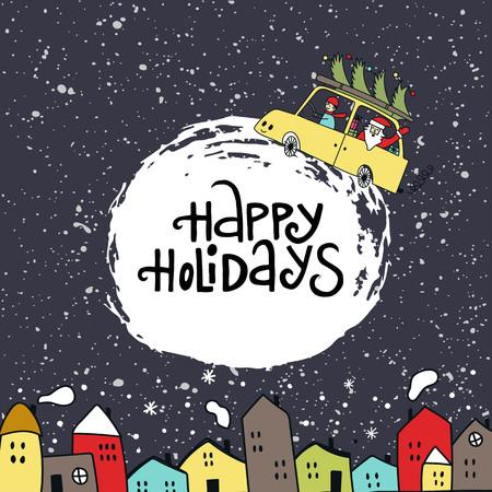 Illustrazione di Natale - cielo notturno e Babbo Natale in macchina con albero di Natale.