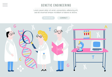 Scientist exploring DNA structure. Hand drawn genome sequencing concept made in vector. Human genome project. Banner for site. Illustration