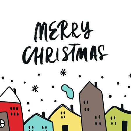 Cartolina di Natale con case di colore dei cartoni animati disegnati a mano, cielo innevato e lettere disegnate a mano. Illustrazione di vettore del nuovo anno.