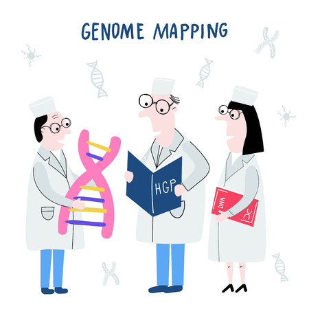 Scientists exploring DNA structure. Hand drawn genome sequencing concept made in vector. Human genome project.