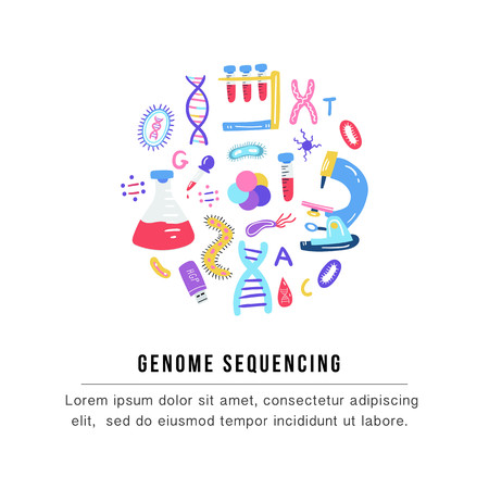 Hand drawn genome sequencing concept. Human dna research technology symbols. Nano technology elements made in vector. Human genome project.