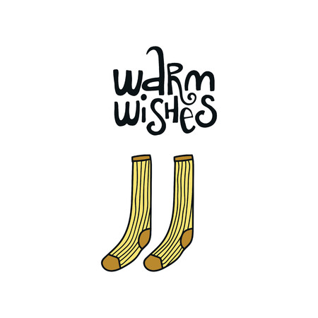Warm wishes - Christmas and New Year phrase and winter socks. Handwritten modern lettering for cards, posters, t-shirts, etc. Vector illustration.