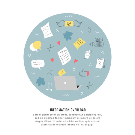 Information overload and multitasking problems concept. Flat and handdrawn vector illustration Imagens
