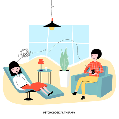 Psychological concept - a woman sits in the chair of a psychologist and talks about her mental problems. Vector illustration.
