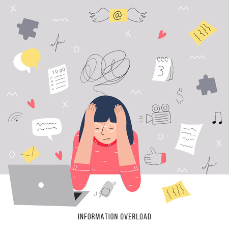Information overload and multitasking problems concept. Flat and handdrawn vector illustration 스톡 콘텐츠