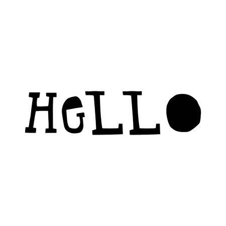 Hello - fun lettering phrase cut out of paper in scandinavian style. Vector illustration.