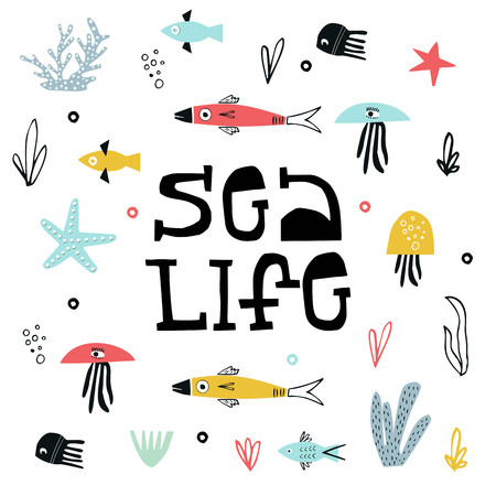 Sea Life - Summer kids poster with a fish, jellyfish and seaweed cut out of paper and hand dtawn lettering. Vector illustration. Ilustração