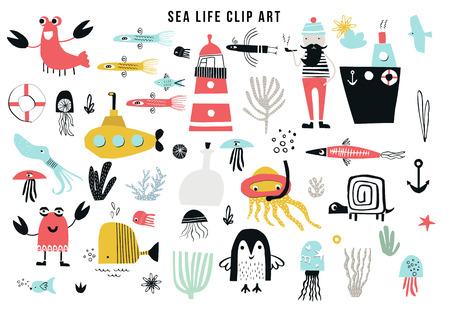 Collection de cliparts de la vie marine des grands enfants. Un grand ensemble d'articles sur le thème marin découpés dans du papier. Illustration vectorielle.