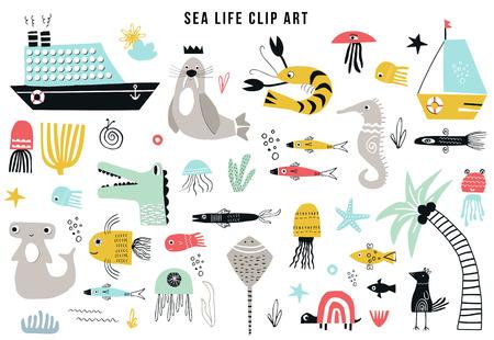 Colección de imágenes prediseñadas de vida marina de niños grandes. Un gran conjunto de artículos sobre el tema marino recortado en papel. Ilustración de vector.