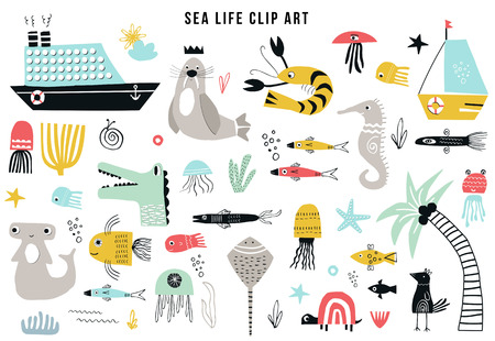 Collezione di clipart di vita marina per bambini grandi. Una grande serie di oggetti sul tema marino ritagliati dalla carta. Illustrazione vettoriale.