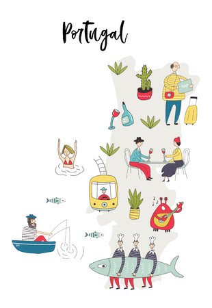 Illustrated Map of Portugal with cute and fun hand drawn characters, plants and elements. Color vector illustration.