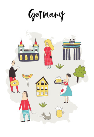Illustrated Map of Germany with cute and fun hand drawn characters, plants and elements. Color vector illustration.