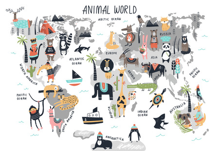 Animal World Map - cute cartoon hand drawn nursery print in scandinavian style. Vector illustration.
