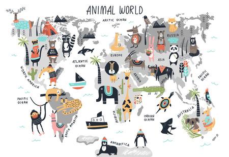 Mapa del mundo animal - impresión de vivero dibujada a mano de dibujos animados lindo en estilo escandinavo. Ilustración de vector.