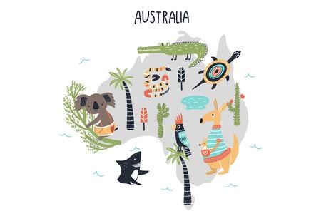 Animal World Map - mainland Australia. Cute cartoon hand drawn nursery print in scandinavian style. Vector illustration. Vektoros illusztráció