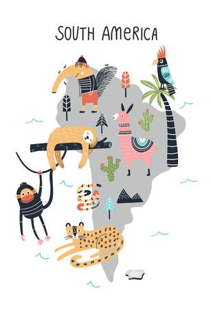 Animal World Map - South America. Cute cartoon hand drawn nursery print in scandinavian style. Vector illustration.