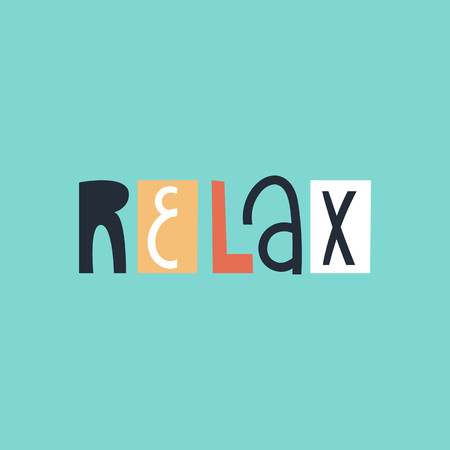 Relax - cute and fun colorful hand drawn lettering for kids print. Vector illustration.